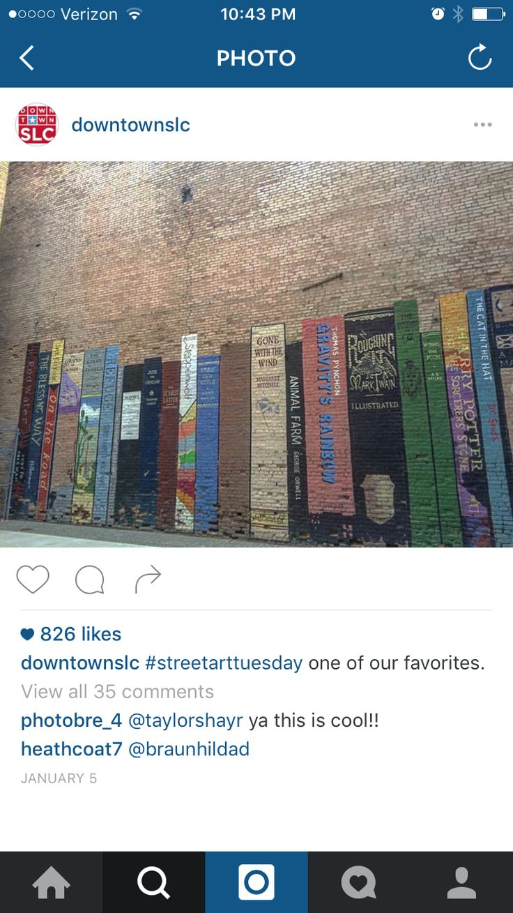 the texture on this is fantastic.  I love street art and brenna loves books.  Not sure where this is in SLC