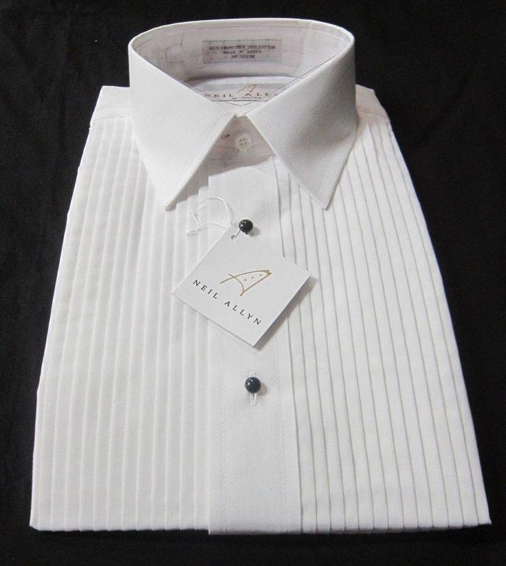 Neil Allyn Mens Tuxedo Shirt Wing Collar 1//8 inch Pleat