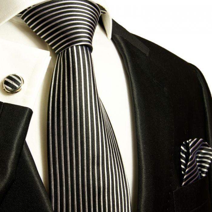 Black and Silver Striped Paul Malone Silk Tie Set (408CH)