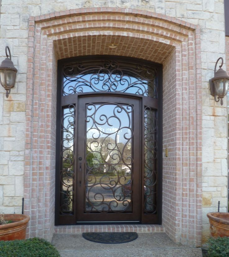 Custom Wrought Iron Door Sidelights And Transom Surround