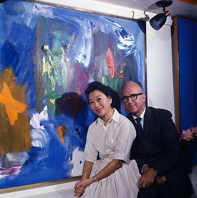 James Michener and his wife, Mari, at home with their formidable art collection in 1962.
