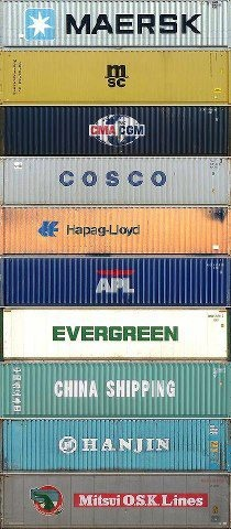 Top 10 container shipping companies in order of size (with Maersk Line being no. 1, of course). By Erfaan Mukaddam via Facebook.