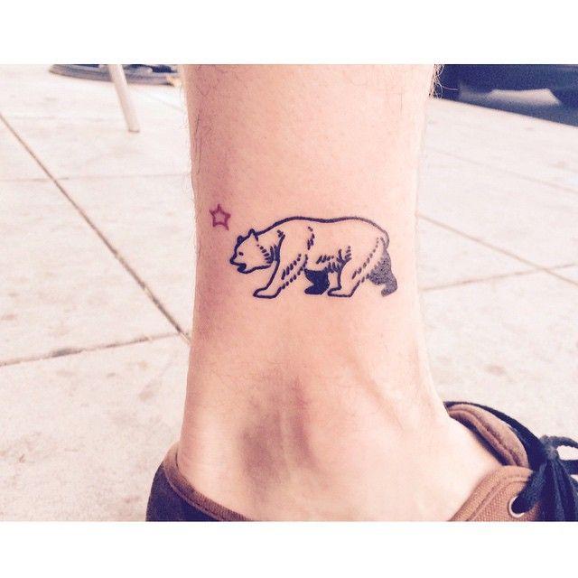 This little bear is heading back to Prague. Take care. @tattoomania25 #tattoo #california #bear #blackwork #ink #gangstashit #losangeles