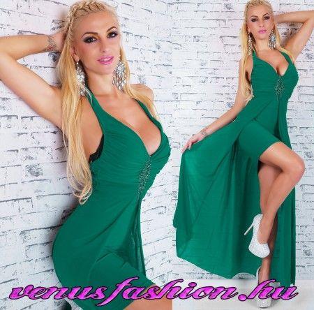 Elegáns zöld alkalmi dekoratív maxi női ruha