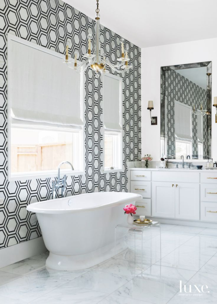 Black and White Hexagonal Tile Master Bathroom, Freestanding Tub | Interiors by Paloma Contreras | Luxe Magazine March/April 2017