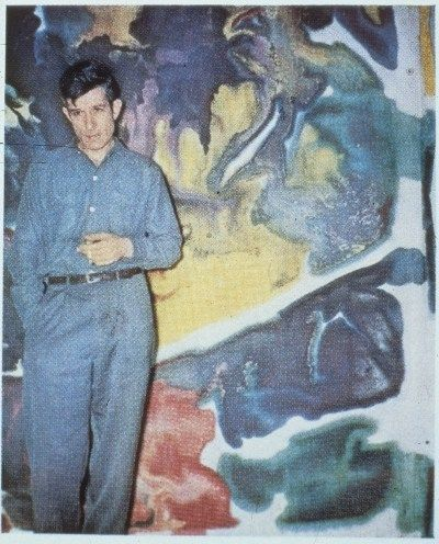 Citation: Morris Louis standing in front of Untitled, ca. 1956 / unidentified photographer. Morris Louis and Morris Louis Estate papers, Archives of American Art, Smithsonian Institution.