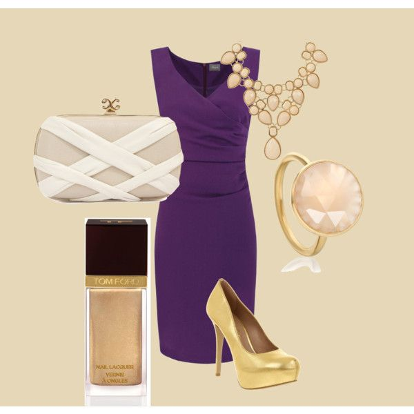 Purple dress with gold accessories, created by elizabeth-bleier-declue on Polyvore
