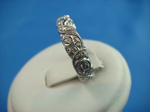 18K White Gold Engraved Filigree Vintage Lades Wedding Band 4 7 Grams   eBay