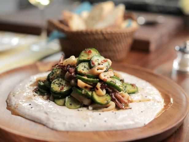 Get Spicy Calamari and Cucumber Salad with Spiced Yogurt Sauce Recipe from Food Network