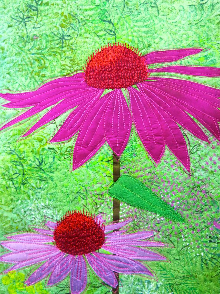 Echinacea art quilt by Gillian Travis (UK)