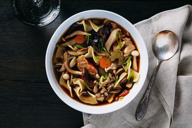 Wild Mushroom Noodle Soup / Dried porcini lend their meaty flavor to the broth of this mixed mushroom soup.