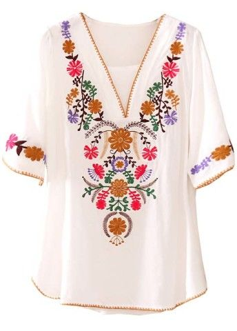 V Neck Short Sleeve Embroidery Loose Blouse.