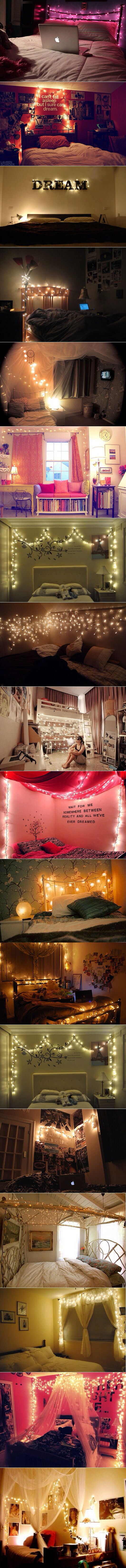 I just love white lights to accent a bedroom. So magical!