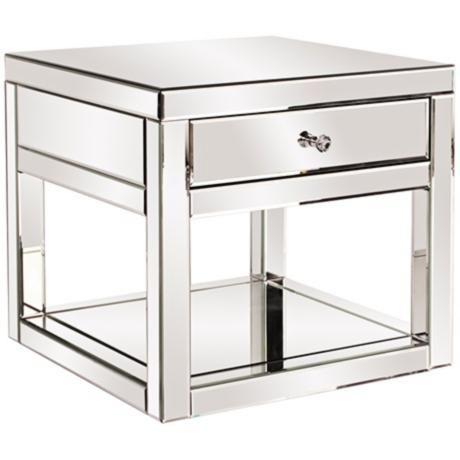 Howard Elliott Mirrored 1-Drawer Side Table