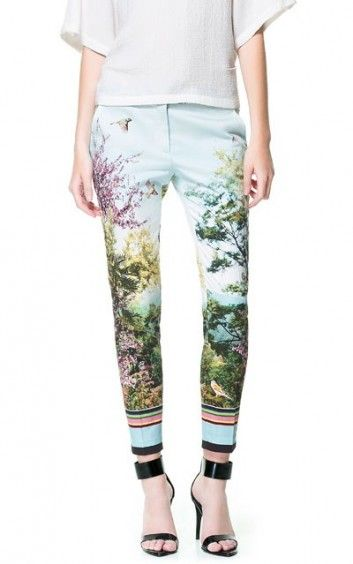 Green Photographic Floral Stretch Trousers-$19.90 FREE SHIPPING