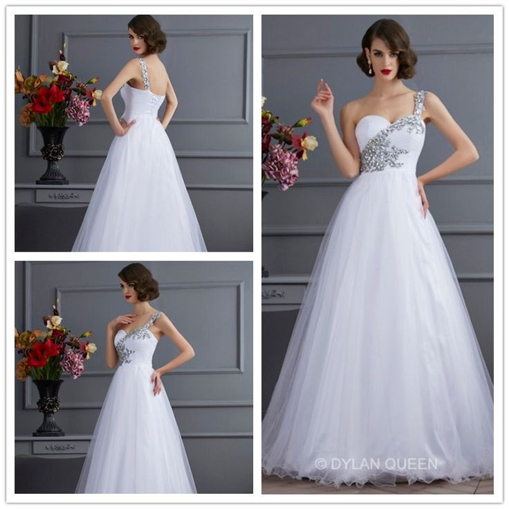 2015 White one-shoudle sleeveless floor-length dress for Ball gown #dylanqueen