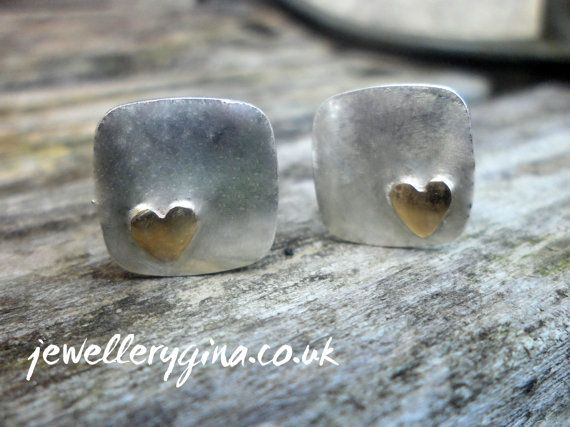 Solid Gold Heart Cufflinks on Etsy, £85.00