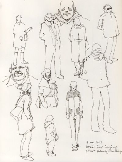 Nina Johansson: I seem to have taken to quick sketches lately, I don´t know why but I really enjoy trying to capture people in motion. These are from ten days back, I was sitting in a café overlooking a zebra crossing right in the heart of Stockholm, and I couldn´t resist making use of my sketchbook and a pen.