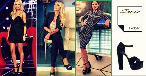 N&V Shoes | Who wears better Sante ? Εσείς ποια πιστεύετε ότι το φόρεσε καλύτερα? 💜Και οι 3 κυρίες συνδύασαν εξαιρετικά το νέο χειμερινό πέδιλο της #Sante# 94401# είτε με κοστούμι είτε με φόρεμα! Εμείς ξεχωρίσαμε το look της αγαπημένης Μαίρης Συνατσάκη με ένα all-day φόρεμα.