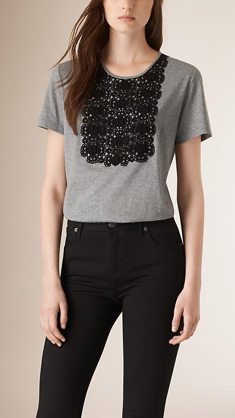 Cinza mesclado Camiseta de algodão com peitilho de renda - Imagem 1
