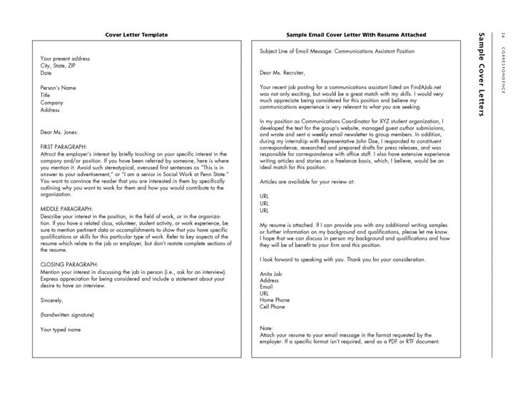 sample email cover letter with resume attached free