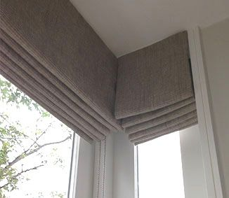 Bay window roman blinds google search homes for Roman shades for bay window