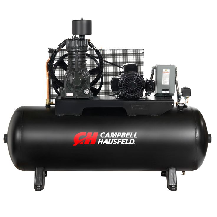 The Campbell Hausfeld 80-gallon, 7.5 hp, horizontal, two-stage air compressor (CE7006) is ideal for auto repair facilities and tire repair outlets. Find it at campbellhausfeld.com. #CampbellHausfeld