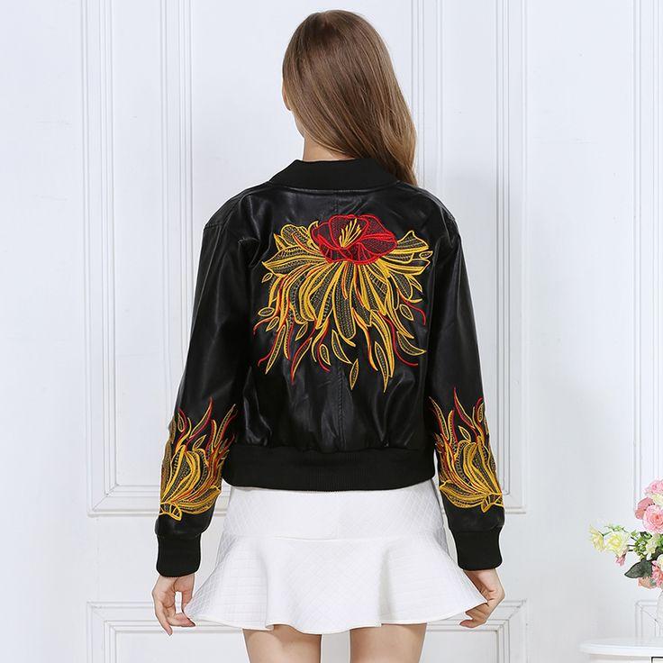2016 moda outono inverno mulheres jaqueta de couro incrível Bordado do punk motocicleta jaqueta bomber streetwear casacos femininos OM469 em Couro & Camurça de Das mulheres Roupas & Acessórios no AliExpress.com | Alibaba Group