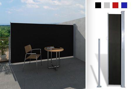 Ideaal voor de zomer! Uitschuifbaar windscherm (tot 3 m), verkrijgbaar in 2 maten en diverse kleuren.