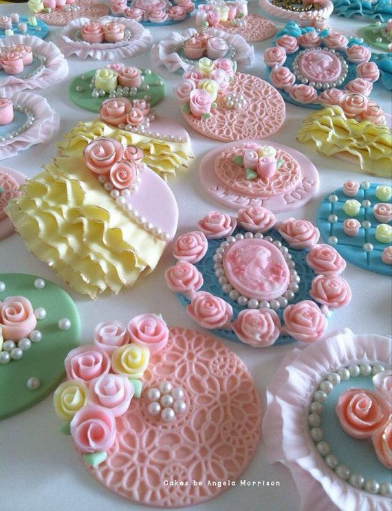 Set of vintage cupcake toppers by CakesbyAngela on Etsy