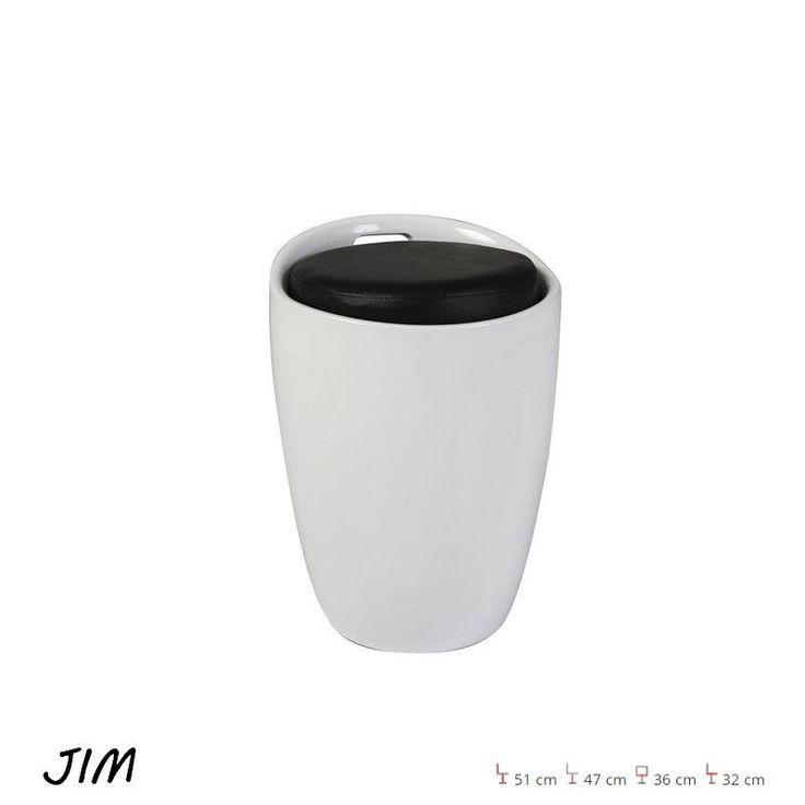 Jim Puff Fehér-Fekete Anyaga: műanyag/ PVC bőr. Szín:Fehér-Fekete. Méret:51 cm 47 cm 36 cm 32 cm.