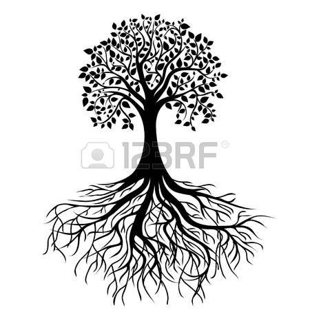 arbre de vie: tout arbre noir avec des racines isolé vecteur fond blanc