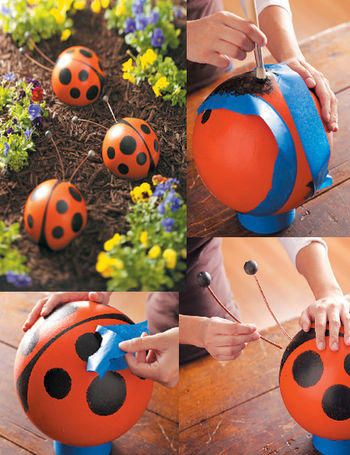 Garden lady bugs... Gotta be something better than a bowling ball to use though!