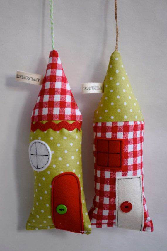 Little fabric houses or ornaments for room by ApplesauceAndKetchup