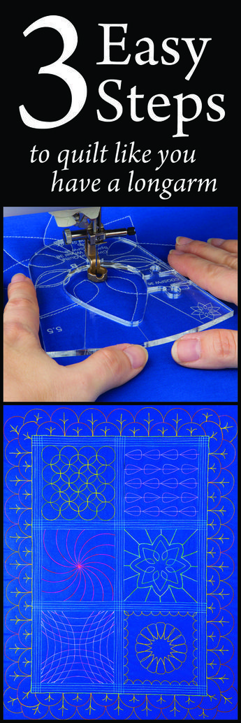 Get the look of long arm on your home machine. Ruler Foot floats just above the quilt sandwich and traces design inside each template. No hopping mechanism (as in a longarm machine) to get in the way of your hands or impede your vision. Ruler Foot and Template Set - Nancy's Notions - Ruler Foot Quilting