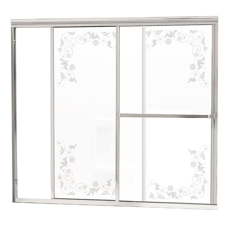 Contractors Wardrobe Model 1100 58-1/2 in. x 56-3/4 in. Framed Sliding Tub Door in Bright Clear with Etched Floral Glass and Towel Bar