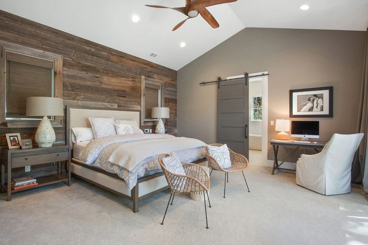 Awe-Inspiring Wood Accent Wall Ideas in Bedroom Farmhouse design ideas with 100-year-old barnwood Arteriors lamps bed ceiling fan