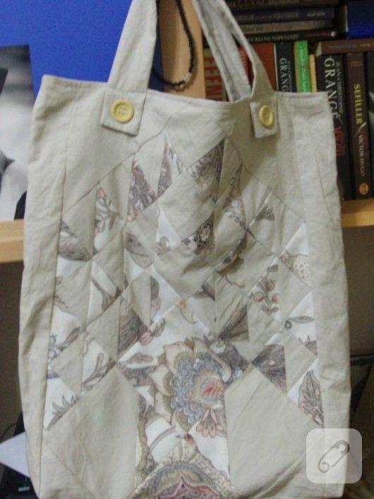 patchwork yani kırkyama tekniği ile yapılmış pek hoş bir çanta modeli ile dikiş çalışmalarınızda size fikir verebilecek pek çok el işi örneği 10marifet.org'da