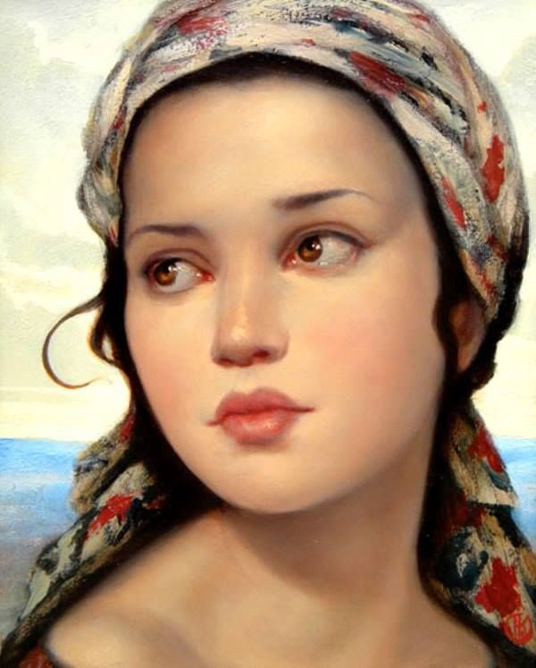 Painting of a girl by Ken Hamilton