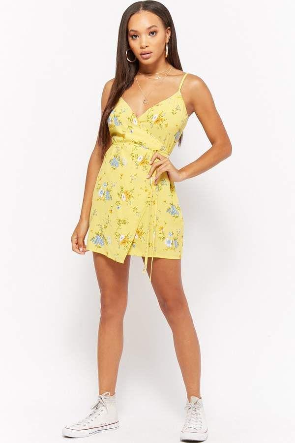 c8697228328 FOREVER 21 Floral Wrap Mini Dress