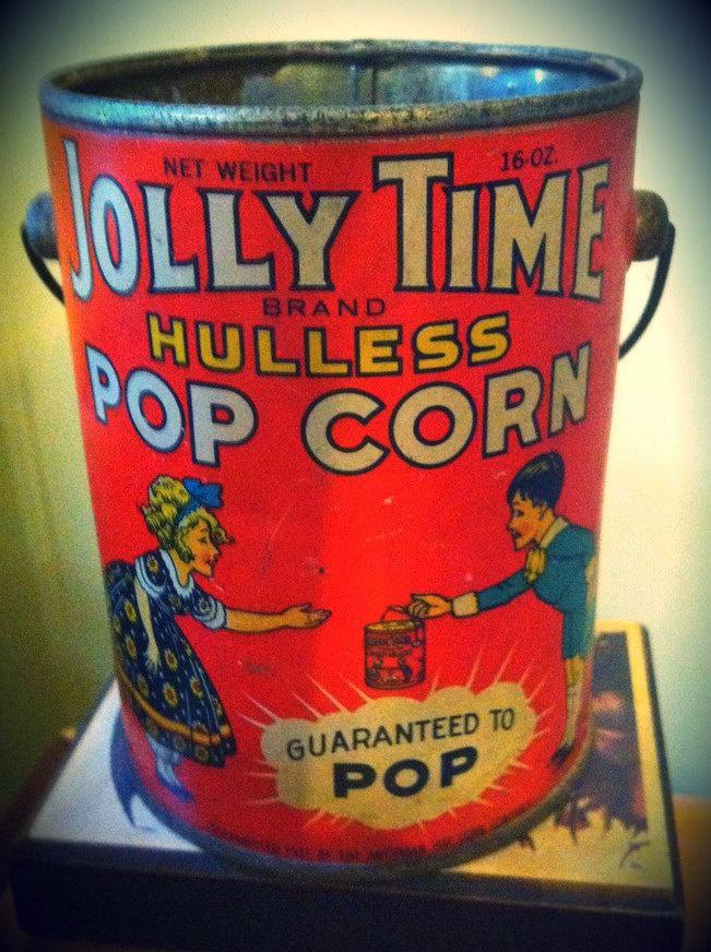 Vintage 1927 Jolly Time Brand Hulless Popcorn Tin. $48.00, via Etsy.