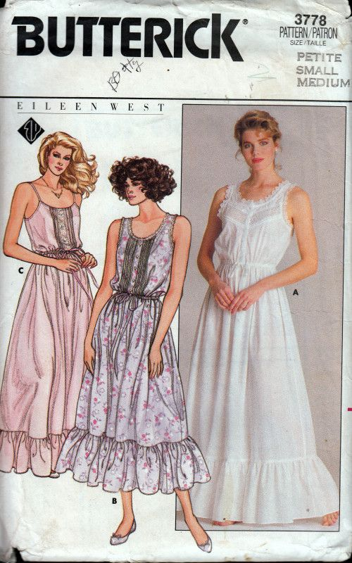 0dd4d1d104 Vintage Sewing Pattern 1980s Butterick 3778 Nightgown Eileen West ...