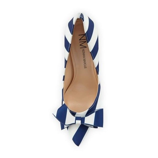 Neiman Marcus Abingdon Striped Bow Pump ($77) ❤ liked on Polyvore featuring shoes, pumps, leather pointed toe pumps, slip on shoes, neiman marcus shoes, leather pointy toe pumps and bow pumps