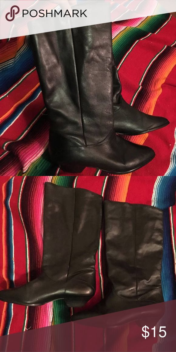 Black leather biker pirate riding rocker boots 9.5 Women's black leather boots size 9.5 Shoes Combat & Moto Boots