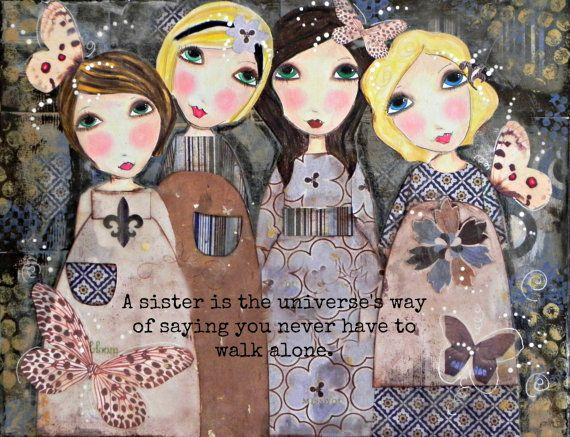 Four Sisters Art Print NEW font and Words. You Choose size!