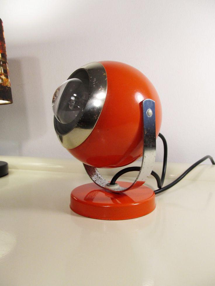 Vintage Retro Lamp   Orange Desk Ball-Eye Lamp   Ball Lamp from the 70's by LaLanterne on Etsy