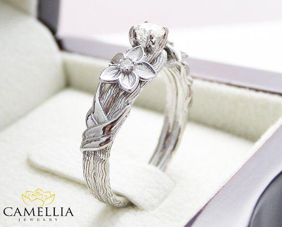 Branche Engagement Ring 14K or blanc bague de fiançailles diamant branche bague feuille Vintage Direction générale de la bague de fiançailles