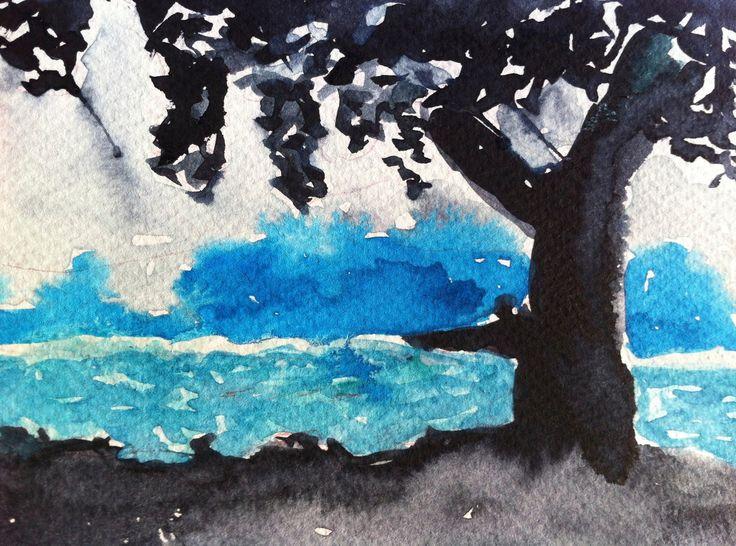 Schattenbaum Aquarell