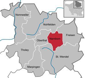 Lage der Gemeinde Namborn im Landkreis St. Wendel