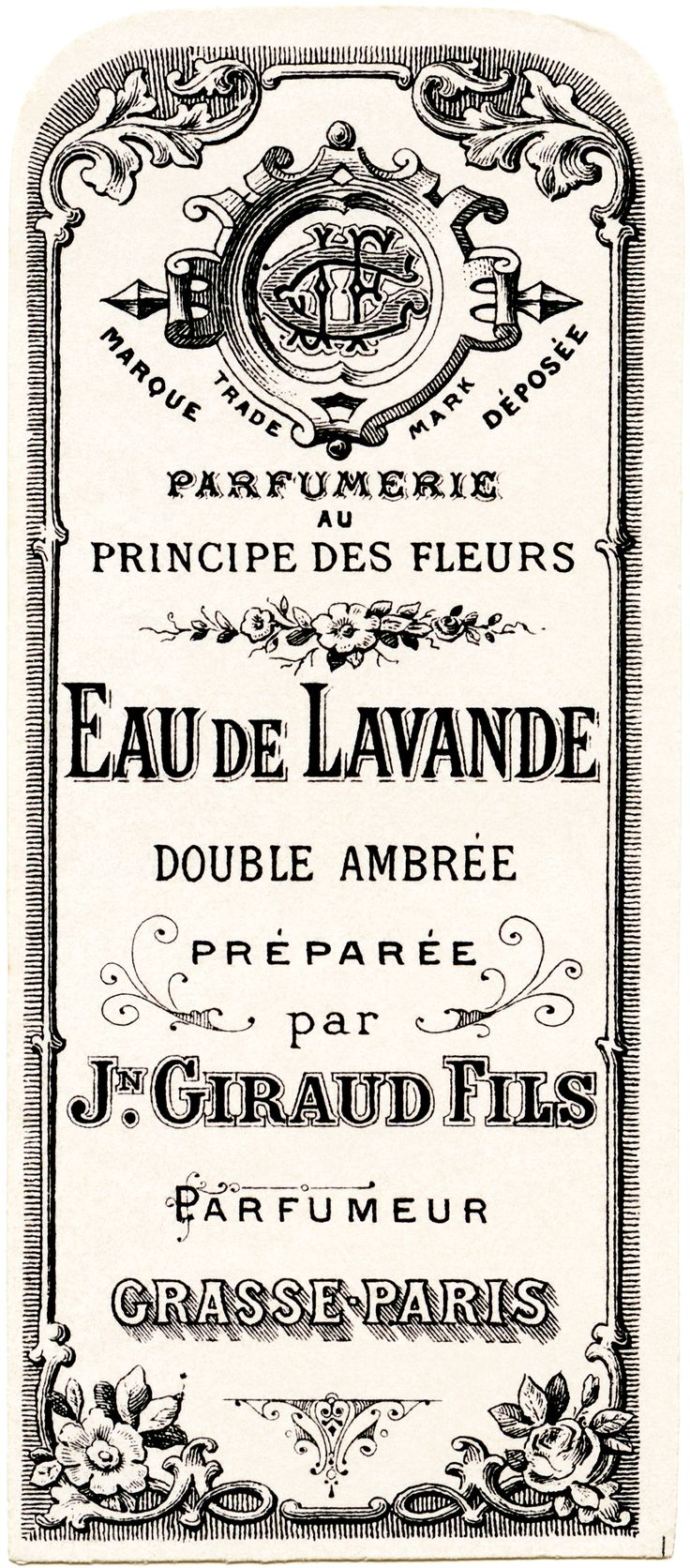 French perfume label, Jn Giraud Fils, vintage French ephemera, eau de lavande, lavender water perfume label, free vintage label graphic great for image transfer! Print in reverse on a laser printer and use Artisan Enhancements Transfer Gel!
